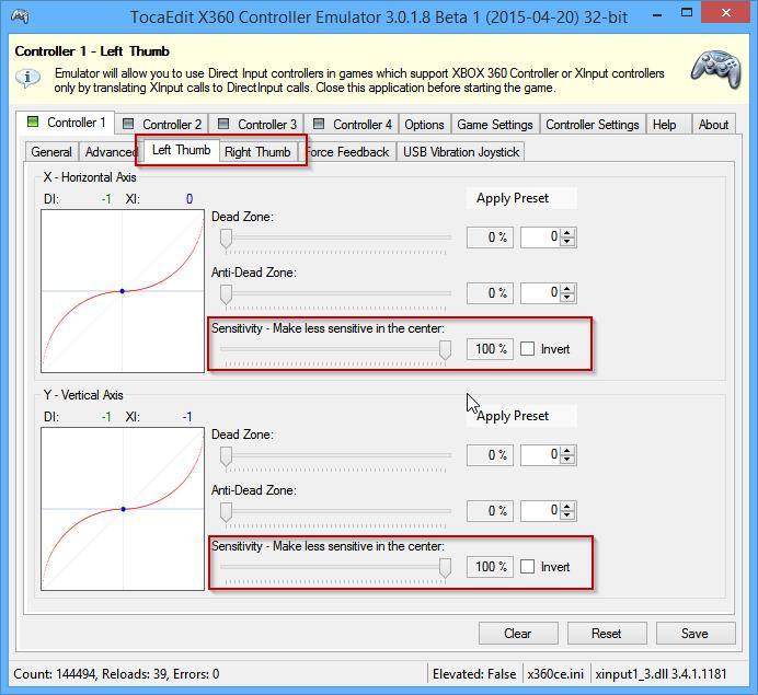 Tocaedit xbox 360 controller emulator (x360ce) 32 бит